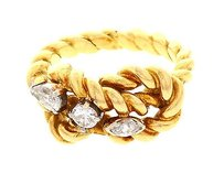 Gucci Gucci 18k Yellow Gold Rope Style Diamond 0.50 Ct Ring