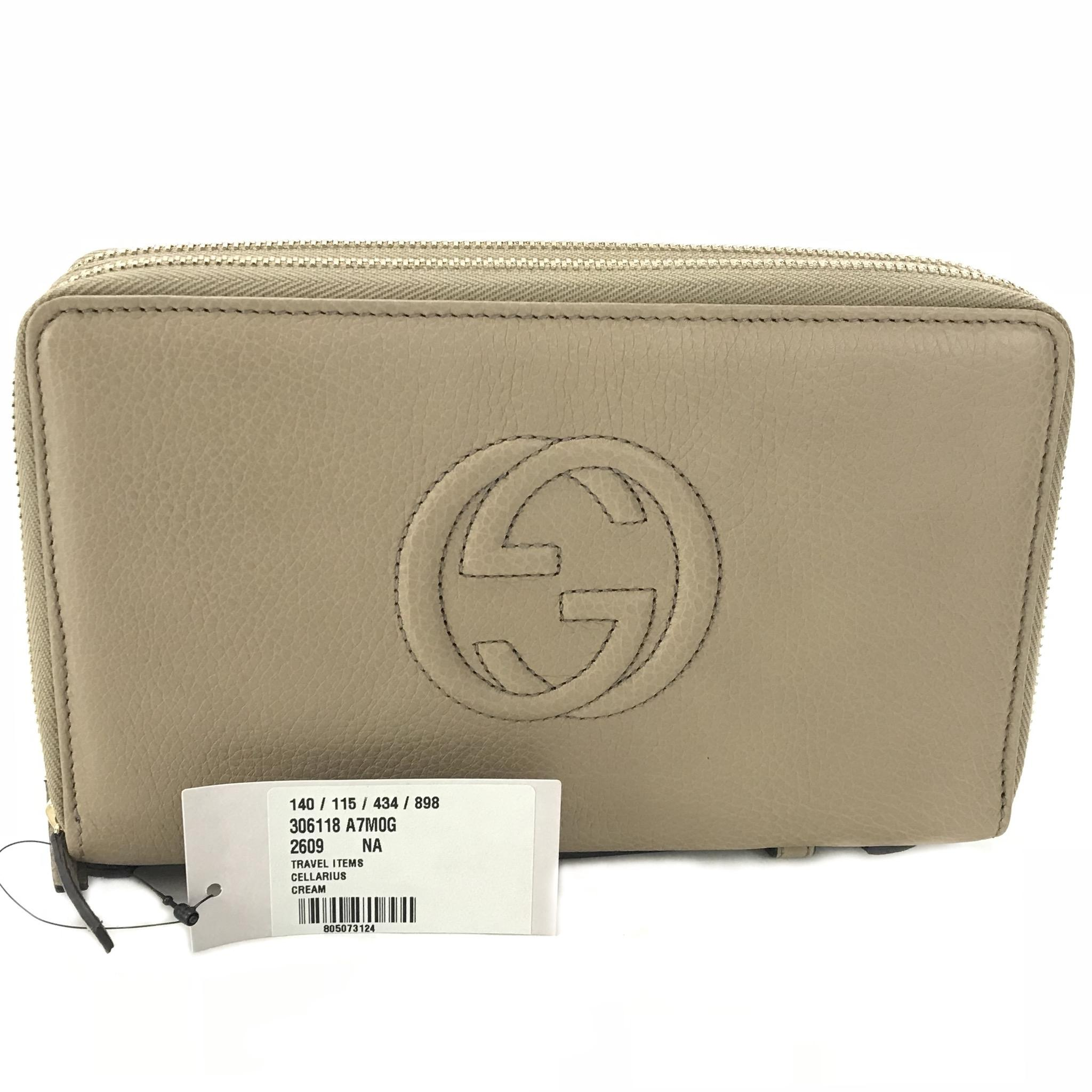 gucci zip around wallet. gucci gucci 306118 soho leather zip around travel document wallet