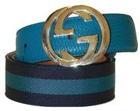 Gucci Gucci Belt Canvas and Leather Interlock G Buckle Size 100
