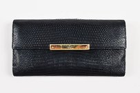 Gucci Gucci Black Lizard Textured Flap Bi Fold Wallet