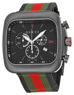 Gucci Gucci Coupe Black Dial Chronograph Nylon Strap Mens Watch YA131202