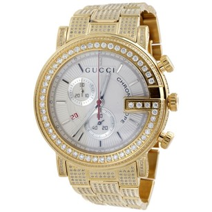 Gucci Gucci Diamond Watch Ya101339 101 G Round White Chronograph 44mm Iced Out Ct.