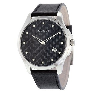 Gucci Gucci G-timeless Black Dial Black Leather Ladies Watch