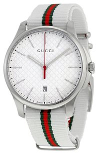 Gucci GUCCI G-Timeless White Dial Fabric Strap Men's Watch YA126322