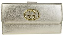 Gucci GUCCI GG Logos Long Bifold Leather Silver Gold Wallet Purse