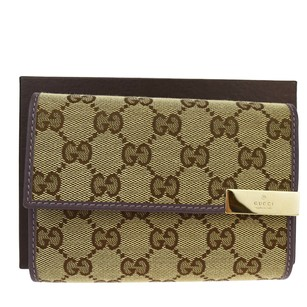 Gucci GUCCI GG Pattern Trifold Canvas Leather Brown Wallet Purse