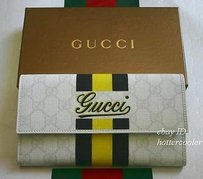 Gucci Gucci Gg Plus Canvas Leather Continental Clutch Wallet Yellowblack Stripe