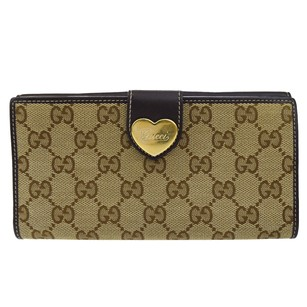 Gucci GUCCI Heart Bifold Wallet Canvas Leather