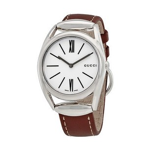 Gucci Gucci Horsebit Silver Dial Leather Ladies Watch