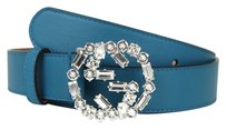 Gucci GUCCI Leather Belt w/Crystal Interlocking G Buckle