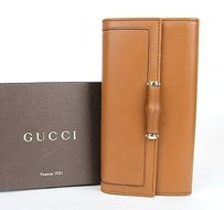 Gucci Gucci Leather Continental Clutch Wallet Wbamboo Brown 295656 2535