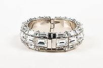 Gucci Gucci Silver Plated Swarovski Crystal Hinged Statement Bangle Bracelet