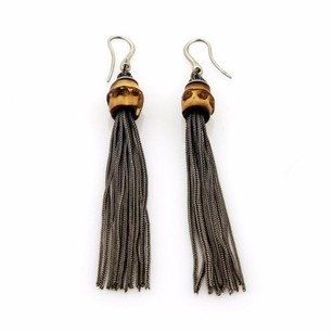 Gucci Gucci Sterling Silver Wood Bamboo Multi-strand Snake Chain Dangle Earrings