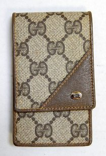 Gucci Gucci Vintage Brown Khaki Gg Monogram Canvas Leather Cigarette Case Italy