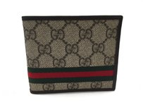 Gucci Gucci Wallet Beige Brown Plus Leather with ID Window