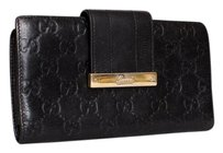 Gucci Gucci Guccissima Black Monogram Embossed Leather Continental Flap Long Wallet