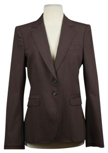 Gucci Gucci Womens Brown Ivory Blazer Wool Striped Jacket Career