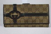 Gucci Gucci Womens Brown Tan Wallet Monogram Clutch Casual
