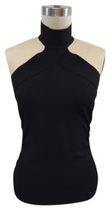 Gucci Ruched Side Stretch Halter Black Halter Top