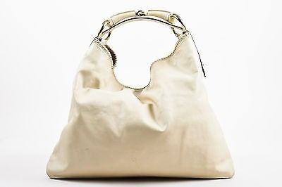 Gucci Cream Leather Woven Trim Oversized Horsebit Handle Large ...