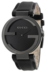 Gucci Interlocking G Black Dial Black Leather Strap Unisex Watch