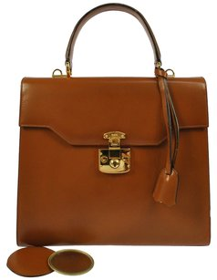 Gucci Leather Hand Brown Gold Tote