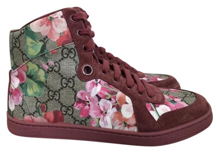 gucci blooms gg supreme floral suede high top sneakers