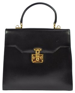 Gucci Logos Hand Gold Tote in Black