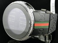 Gucci Mens Custom White Full I Gucci Digital Diamond Watch Ct