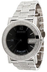 Gucci Mens Gucci Diamond Watch Ya101305 Day Date G 101m 40mm Fully Iced Out Band Ct