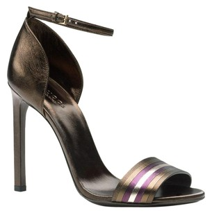 Gucci Metallic Leather Ankle Dark Brown/2575 Sandals
