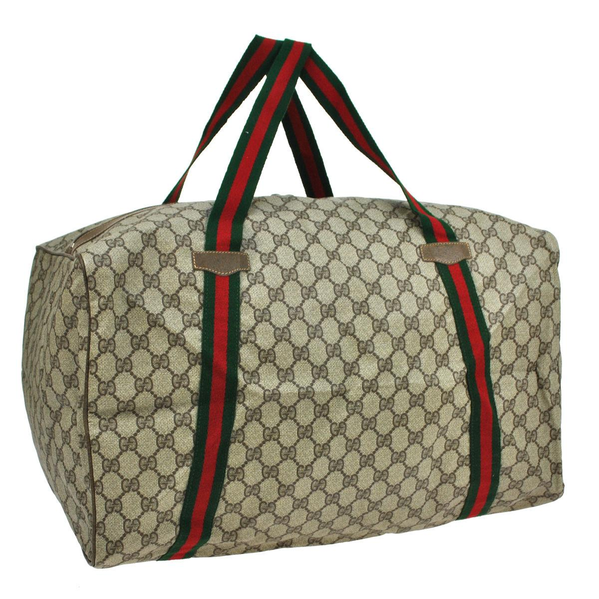 Gucci Vintage Travel Duffle Gym Overnight Carry-on Brown Travel ...