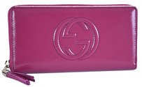 Gucci New Gucci 308004 Soho Vernice PINK Patent Leather Zip Around Clutch Wallet