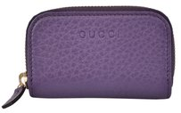 Gucci New Gucci 324801 Purple Leather Logo Zip Around Mini Coin Purse Wallet
