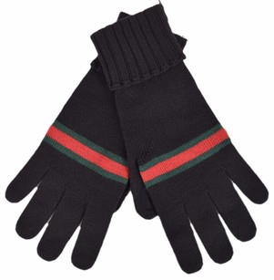 Gucci New Gucci Men's 294732 BLACK Green Red Web Stripe Wool Gloves Small