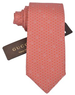 Gucci NEW GUCCI Men's 349409 100% Silk Coral Orange Circle G Guccissima Neck Tie
