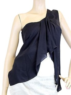 Gucci One Shoulder Silk Top Black