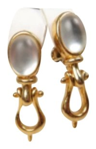 Gucci Paolo Gucci Lucite Moonstone Door Knocker Earrings