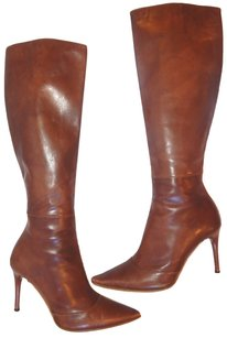 Gucci Pointed Toe Tall Leather Cognac Brown Boots