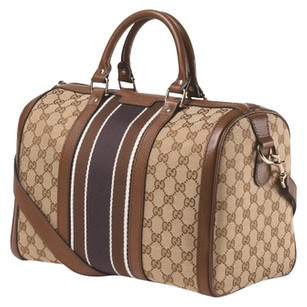 Gucci Satchel in BROWN WITH BLACK AND CREAM STRIPE