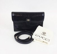 Gucci Vintage Black Lizard Shoulder Bag