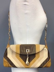 Gucci 00141131705 Brown Gold Metallic Canvas Weighted Tiger Charm Shoulder Bag