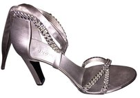 Gucci Silver Satin Sandals
