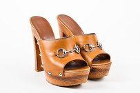 Gucci Leather Silver Brown Sandals