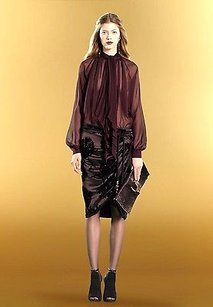 Gucci Satin Gathered Wrap Skirt Purple