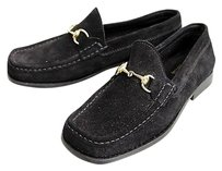 Gucci Suede Loafer Moccasin Whorsebit Black Flats