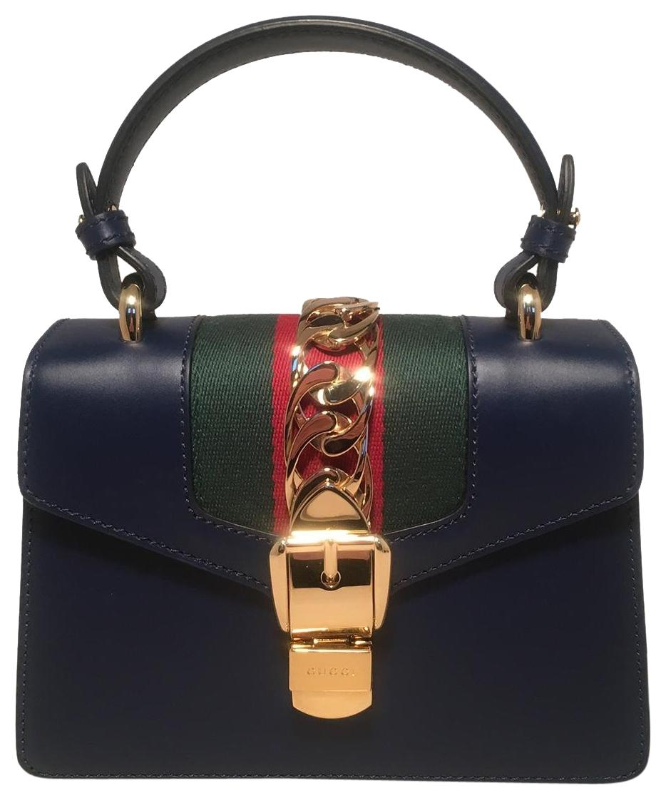 Navy Sylvie mini leather bag Gucci lyexBUH7