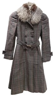 Gucci Tweed A-line Fur Trench Fox Trench Coat