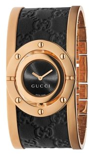 Gucci Twirl Rose Gold PVD and Black Leather Ladies Watch YA112438