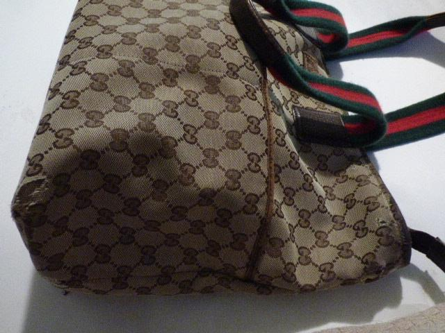 Gucci Vintage Bag In Brown And Beige Monogram Canvas With Red And Green Stripes rKhz25Cq